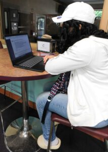 Woman inside at laptop